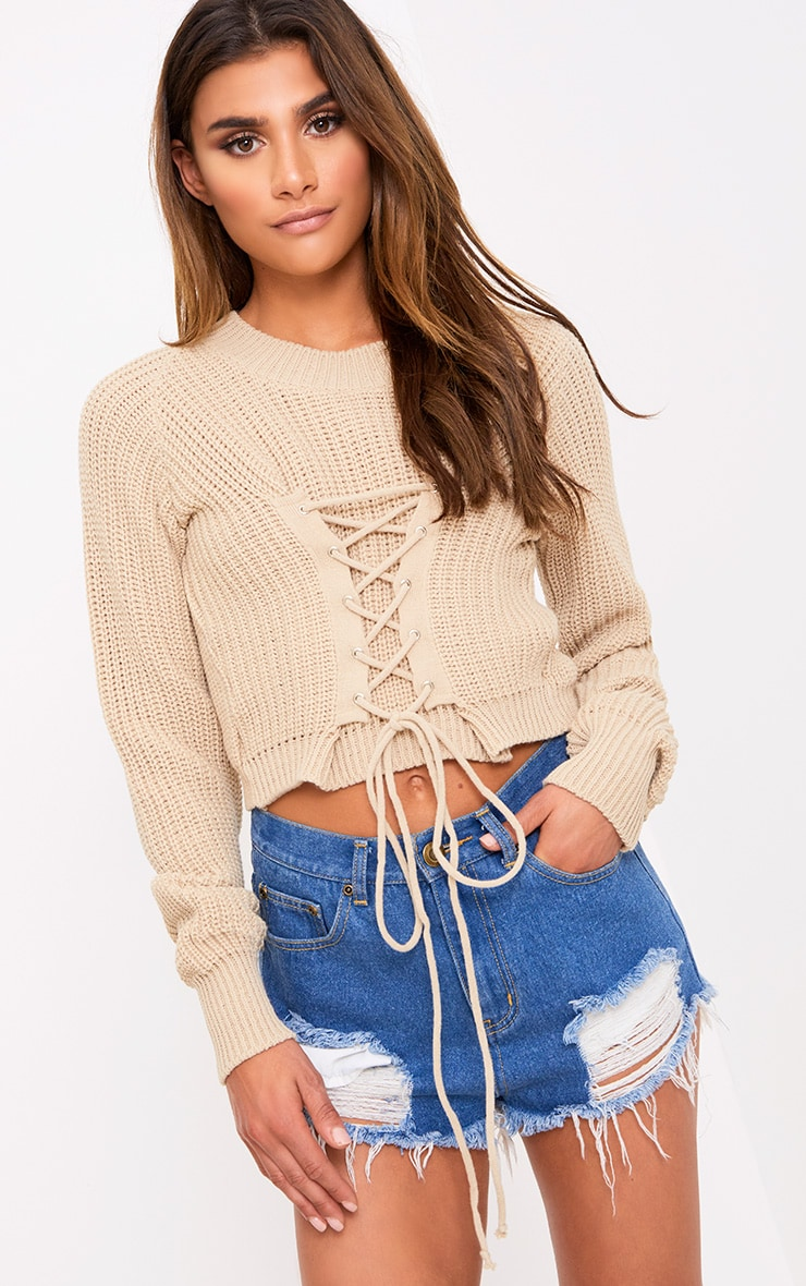 Stone Corset Crop Knit Jumper 1