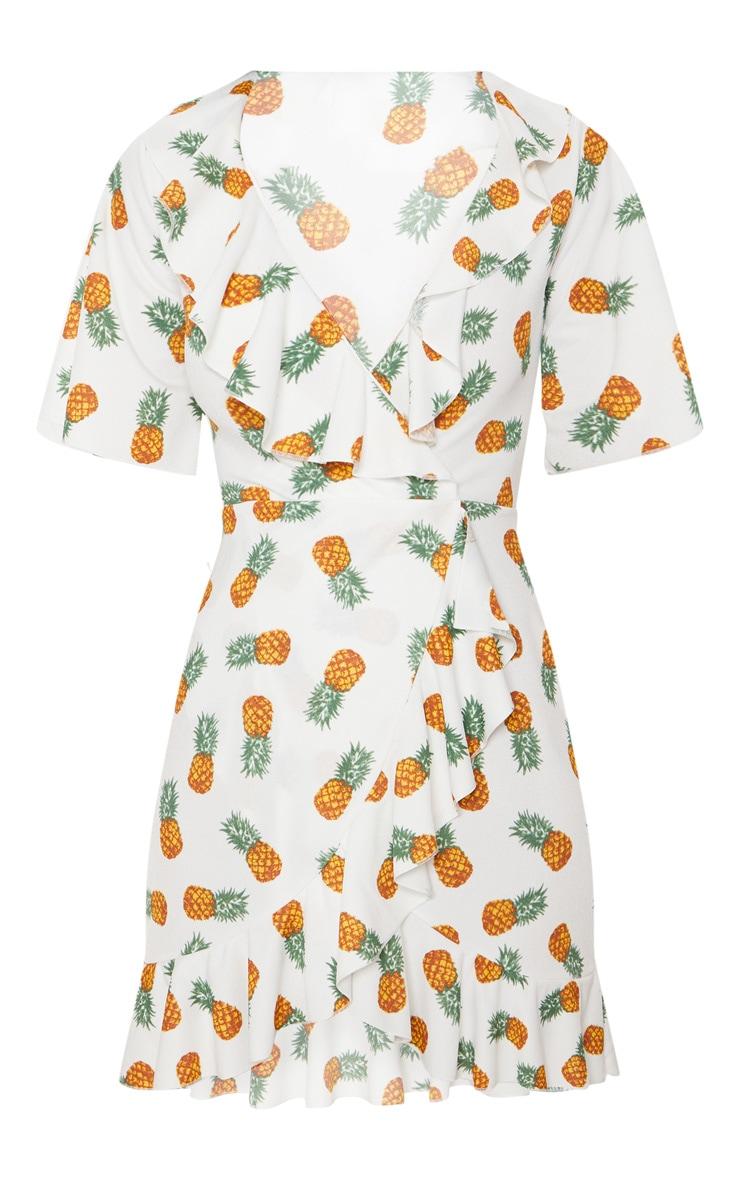 White Pineapple Print Frill Wrap Over Tea Dress 3