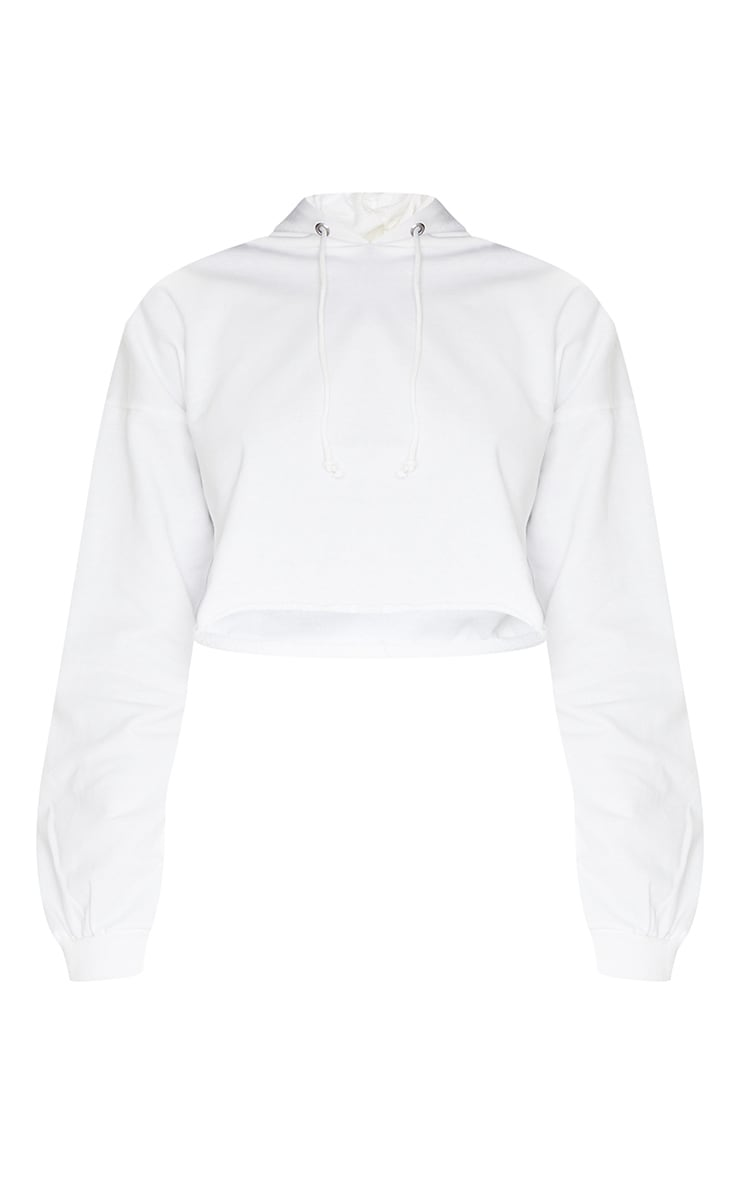 PRETTYLITTLETHING Tall White Cropped Hoodie 5