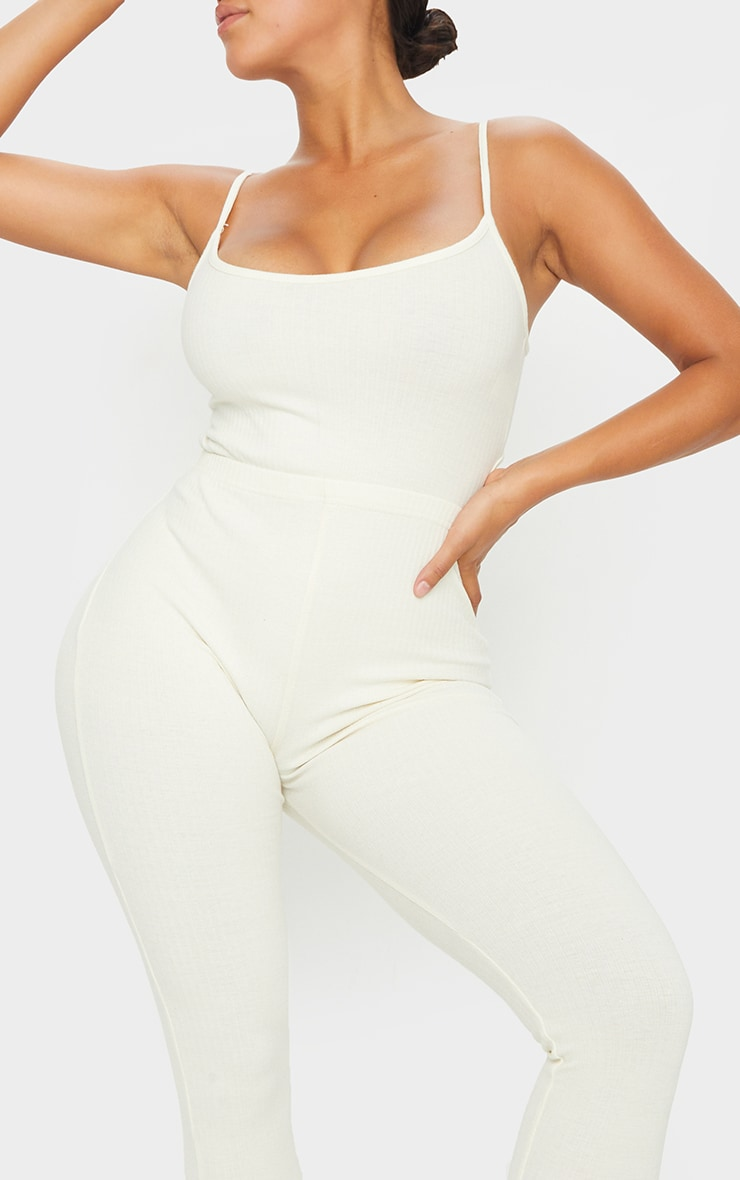 Shape Cream Thick Rib Strappy Cut Out Back Jumpsuit 4