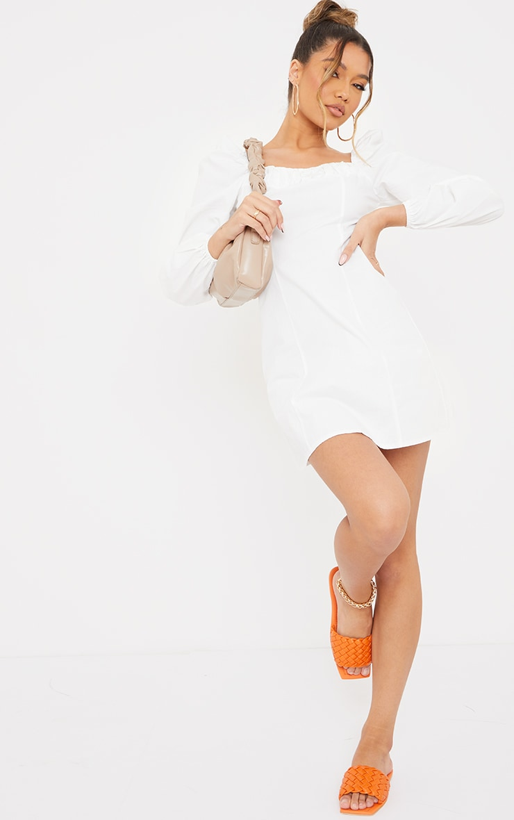 White Ruched Detail Puff Long Sleeve A Line Shift Dress 3