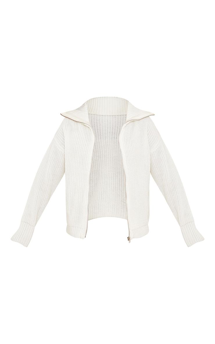 Petite Cream Knitted Zip Through High Neck Jumper 5