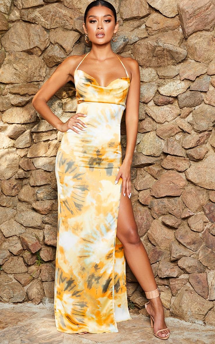 Orange Tie Dye Strappy Cowl Neck Maxi Dress 1
