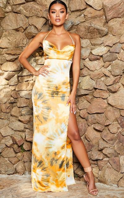 Orange Tie Dye Strappy Cowl Neck Maxi Dress
