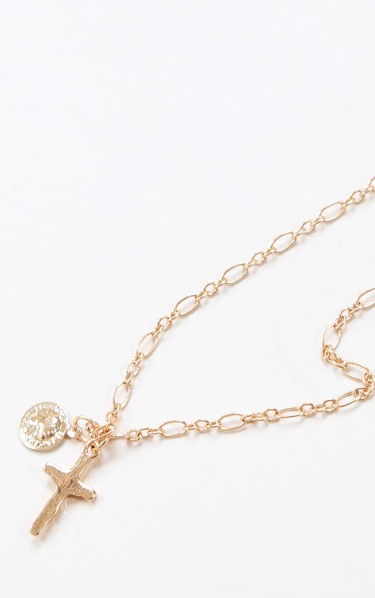 Gold Cross And Coin Layering Chain Necklace 1