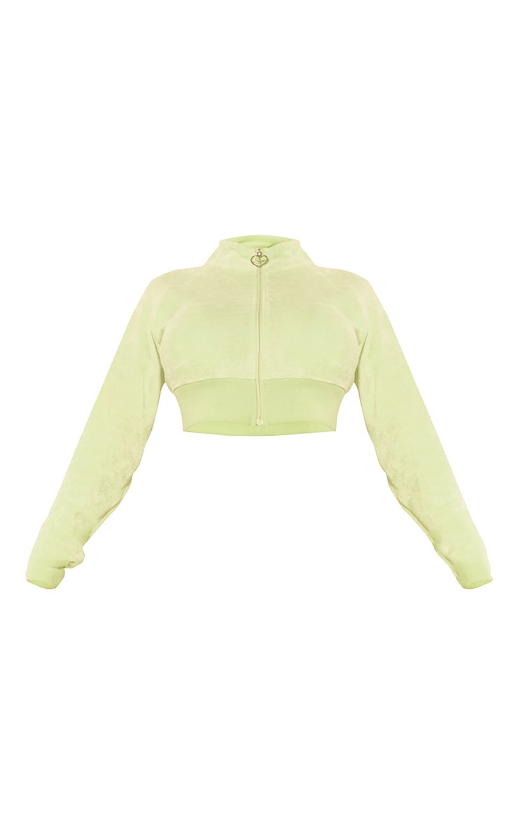 PRETTYLITTLETHING Shape Lime Velour Cropped Zip Up Sweatshirt 5
