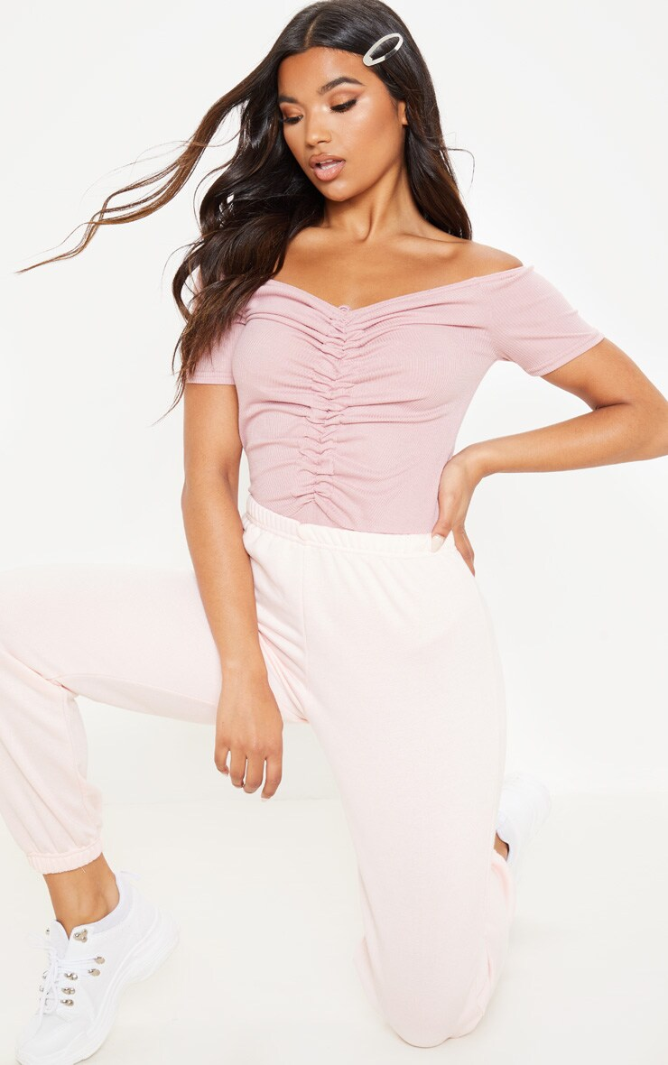 Rose Rib Bardot Ruched Front Short Sleeve Bodysuit 5