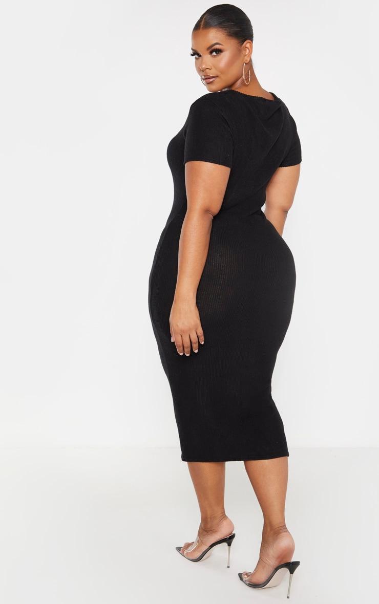 Plus Black Brushed Rib Square Neck Midi Dress 2