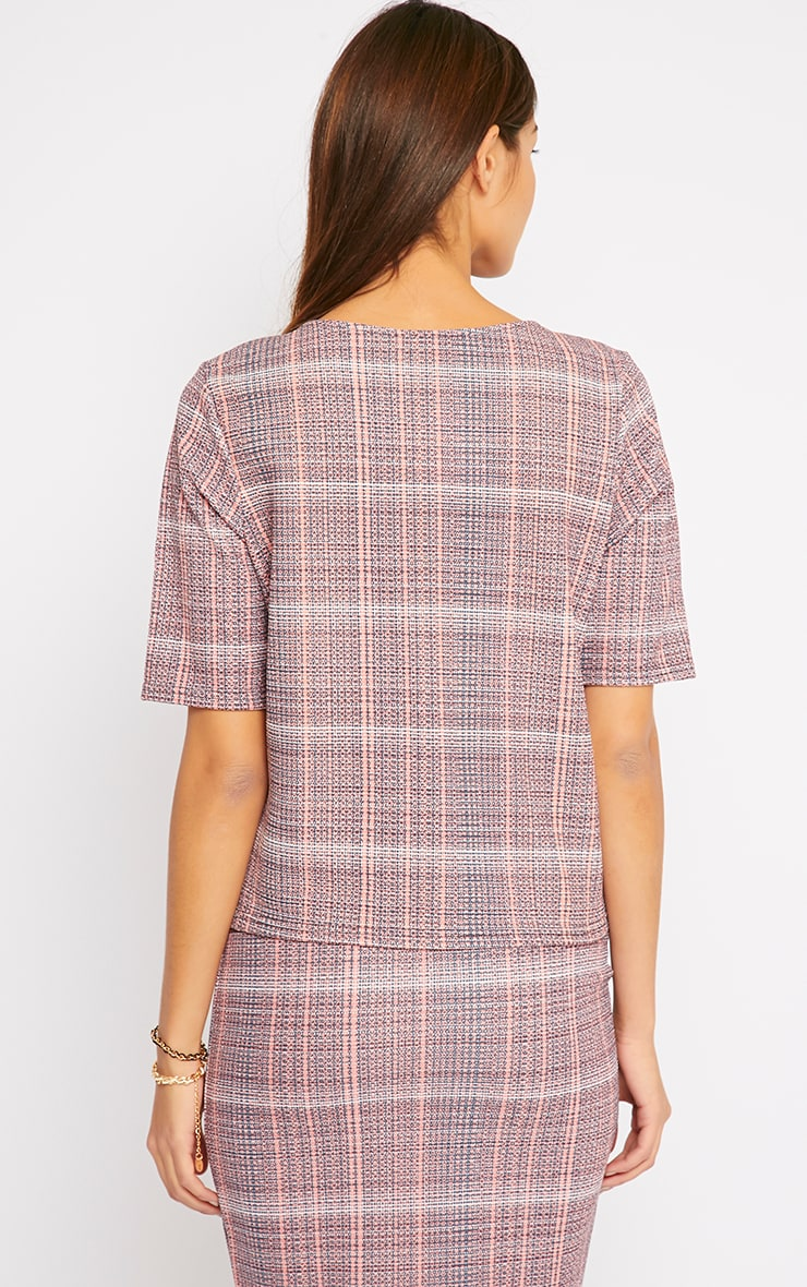 Cleo Coral Checked Top  2