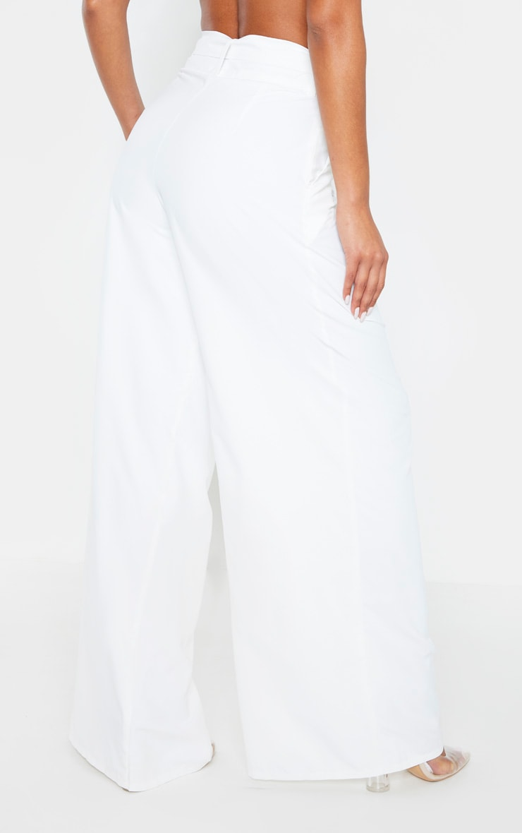 White Woven Belted Lace Detail Wide Leg Pants 2
