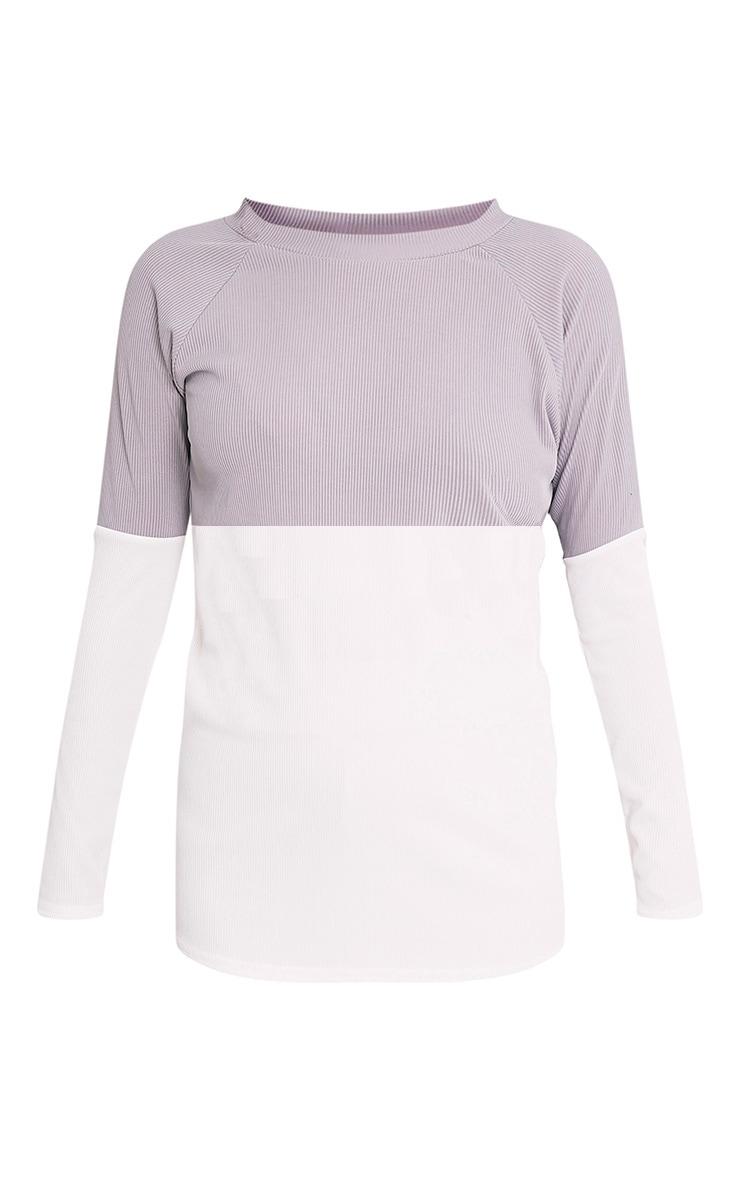 Sacha sweat en jersey colorblock gris 3