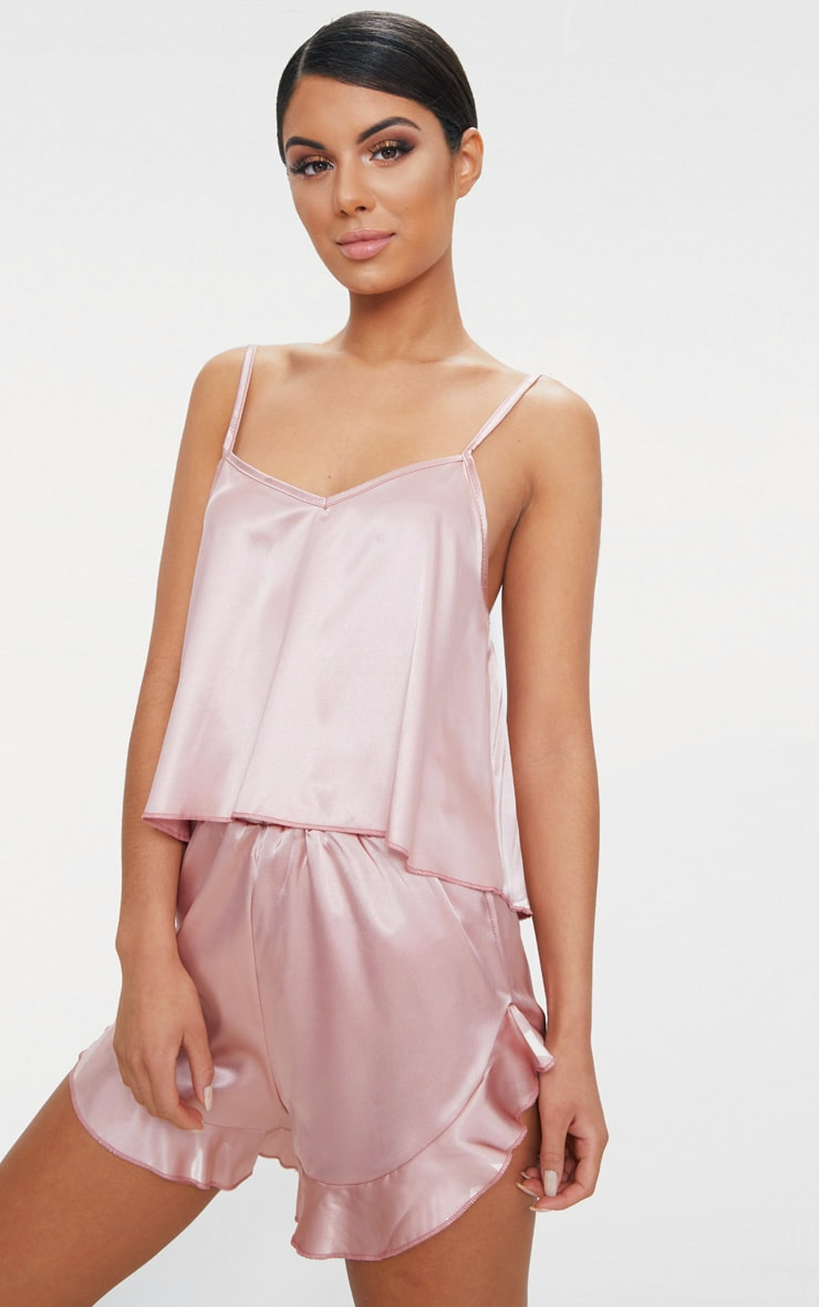 Dusty Pink Strappy Frill Detail Satin PJ Set  1