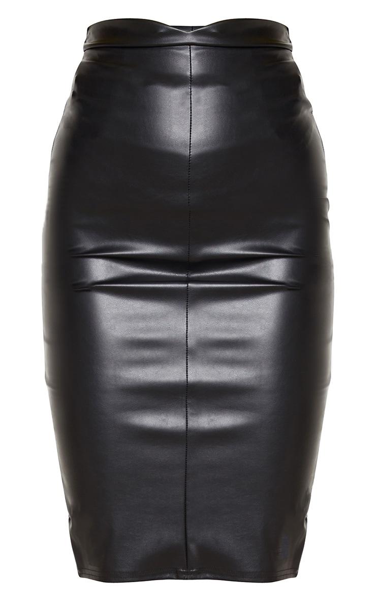 Eva jupe midi noire imitation cuir à bandes 3