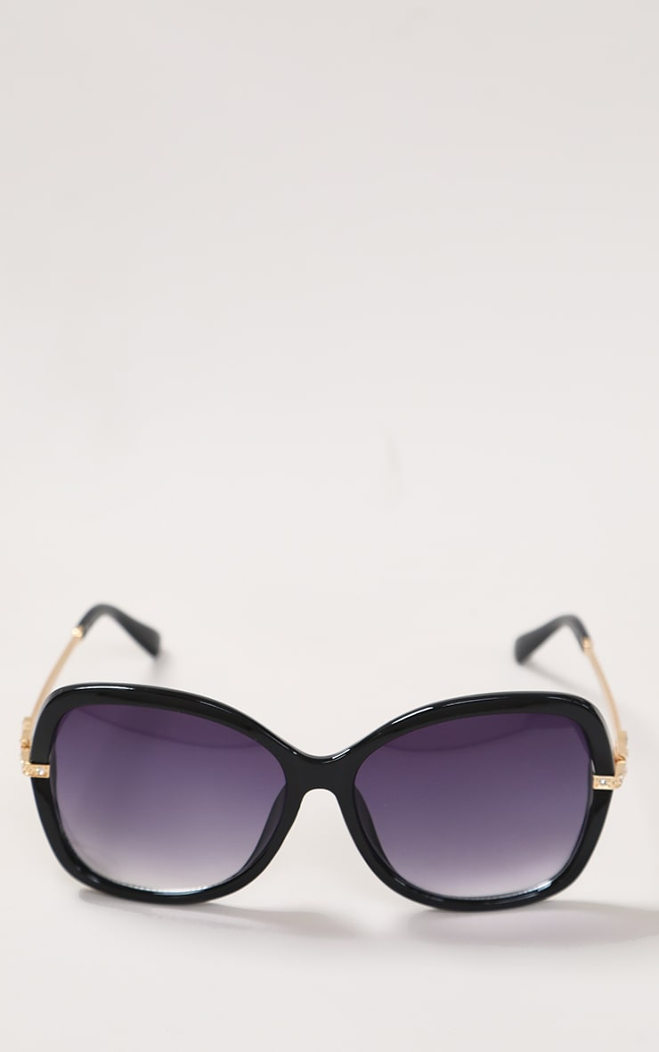 Black Diamante Buckle Detail Oversized Sunglasses 3