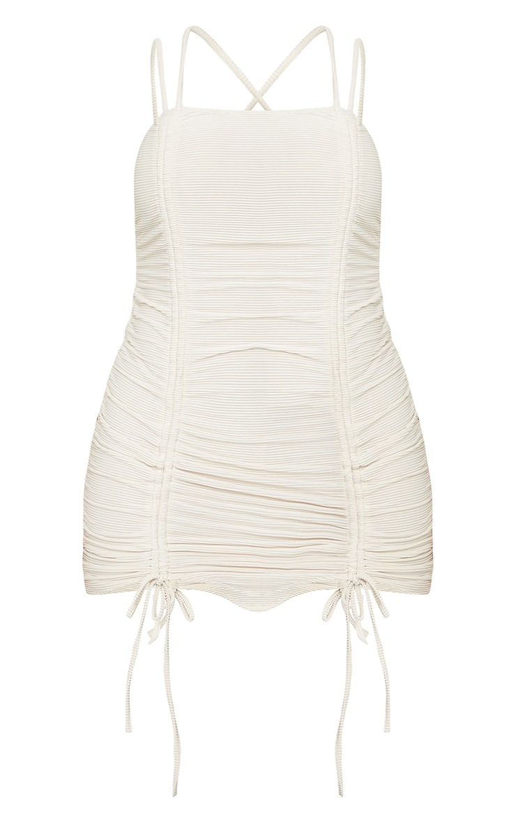 Shape Cream Rib Extreme Ruched Strappy Bodycon Dress 5