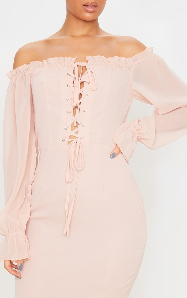 Dusty Pink Bardot Lace Up Chiffon Midi Dress 5