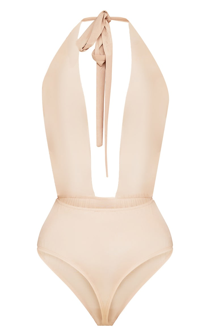 Louella Gold Plunge Halterneck Sequin Thong Bodysuit 5