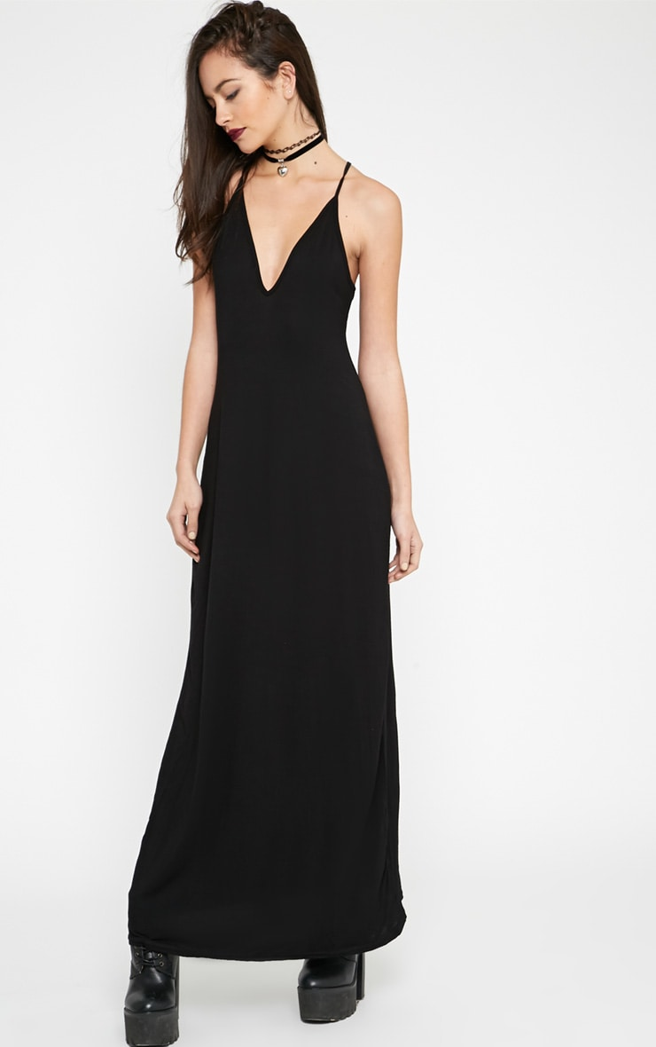 Annie Black Strappy Jersey Maxi Dress 3