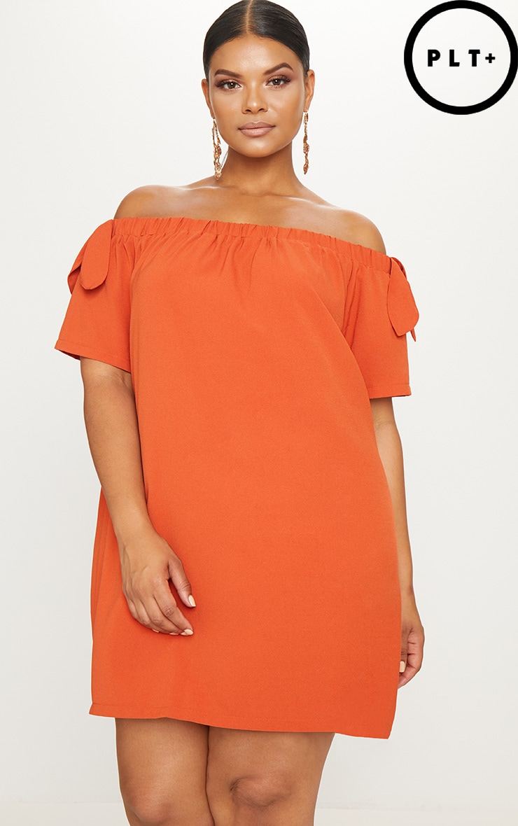 Plus Orange Crepe Bardot Swing Dress 1