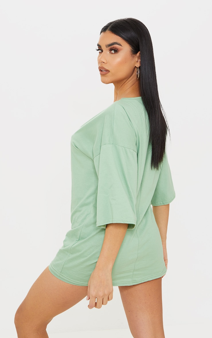 Sage Green Cotton Oversized T-Shirt & Hot Pants Set 2