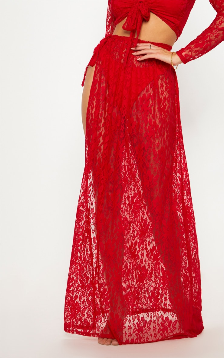 Red Lace Tie Side Maxi Beach Skirt 2