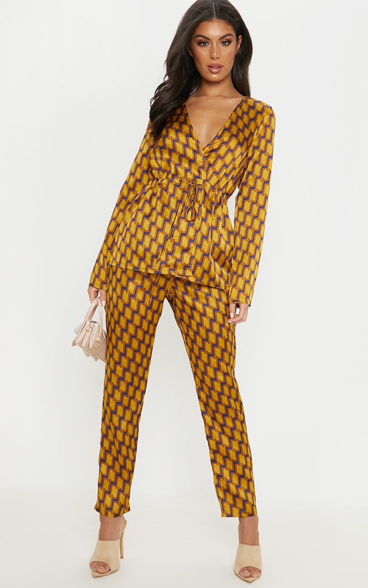 Mustard Satin Printed Straight Leg Trouser 1