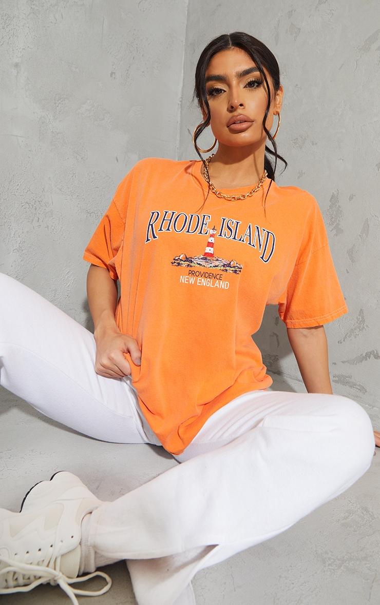 Orange Rhode Island Washed Printed T Shirt 3