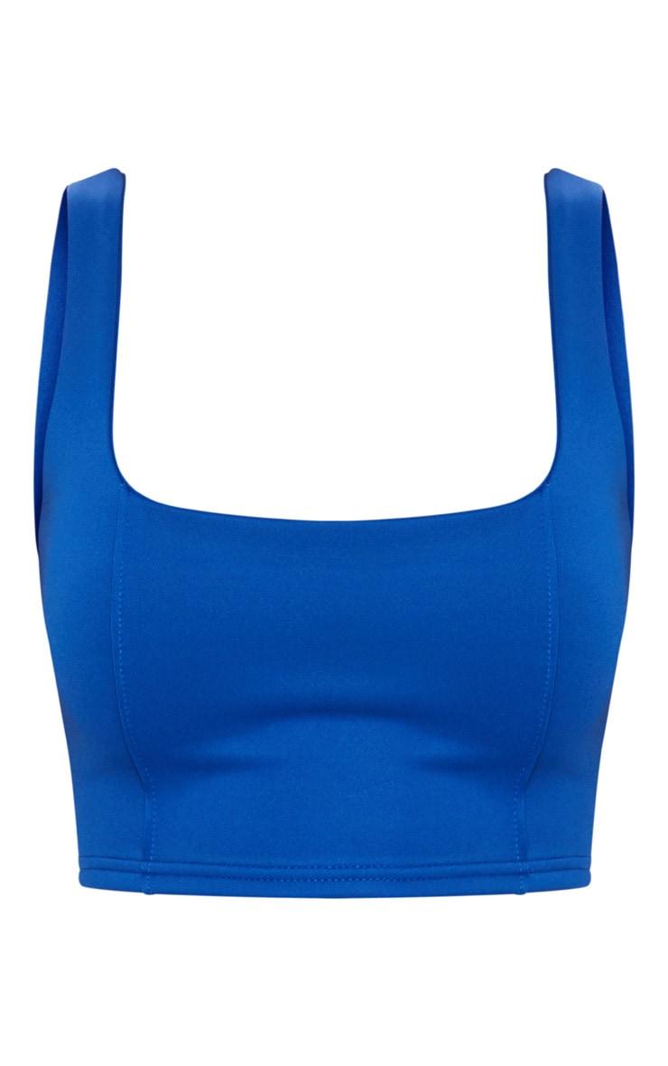 Cobalt Square Neck Zip Back Crop Top  3
