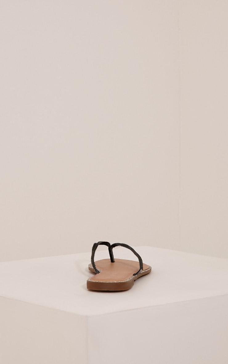 Ashlea Black Diamante Flip Flops 7