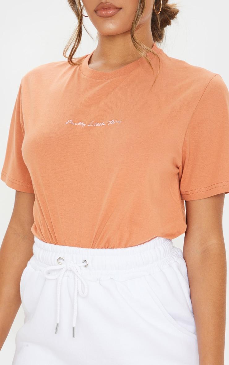 PRETTYLITTLETHING Chestnut Slogan Oversized T Shirt  5