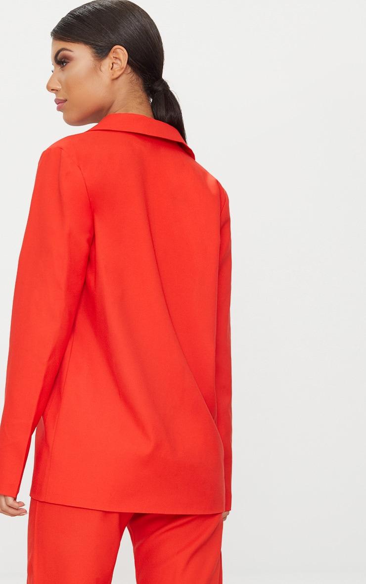 Red Oversized Woven Boyfriend Fit Blazer 2