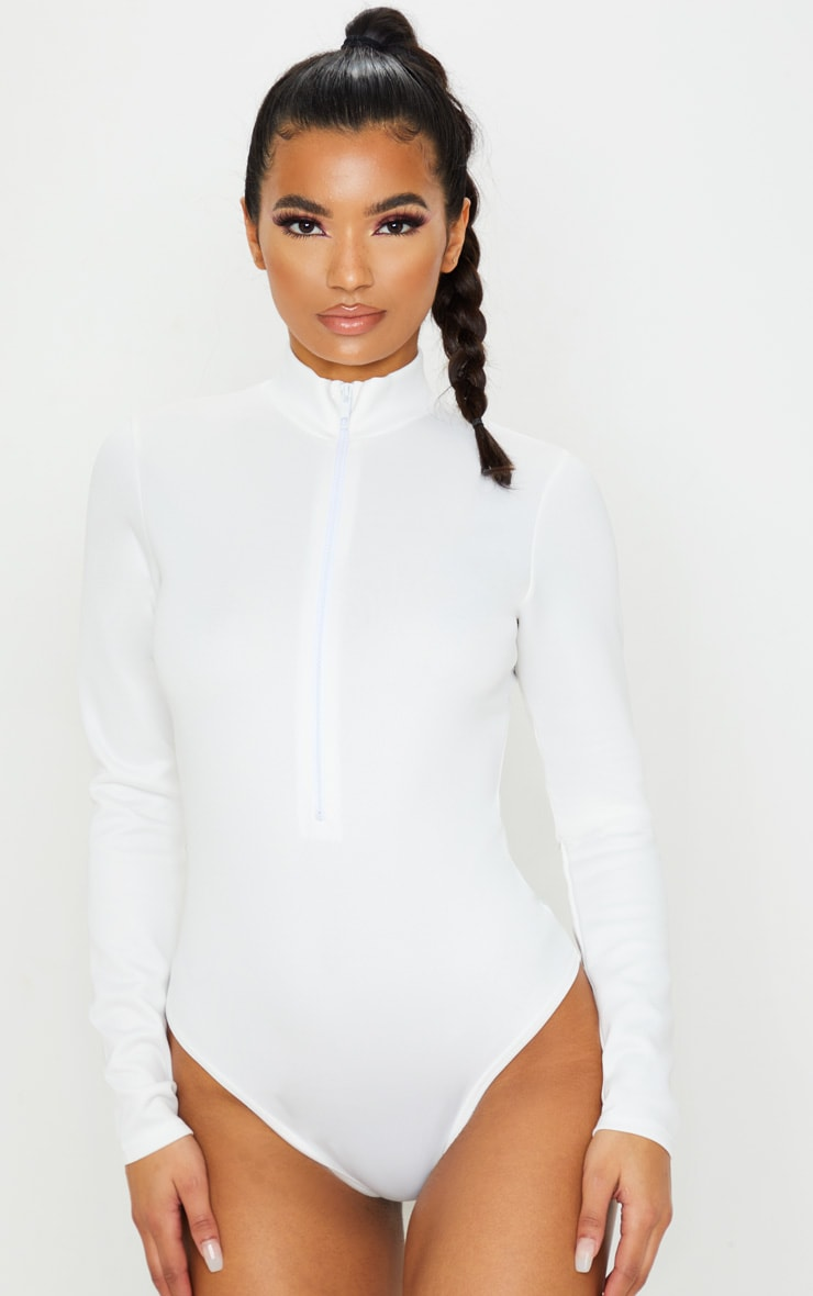White Bonded Scuba High Neck Zip Bodysuit 2