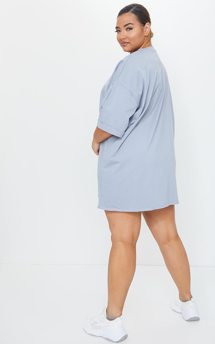 Plus Charcoal Washed Oversized Boyfriend T Shirt Dress 2