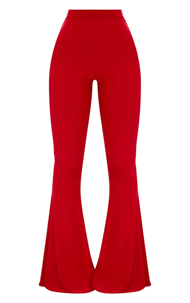 Shape Red Slinky Flared Leg Trousers 3
