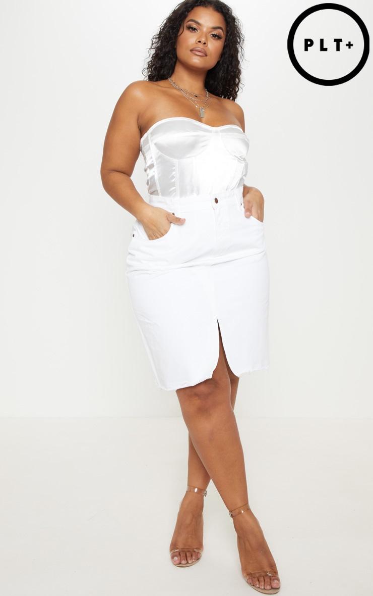 Plus White Denim Fray Hem Midi Skirt  1