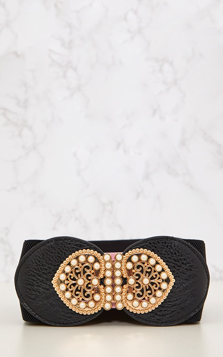 Black Baroque Detail Waist Belt 4