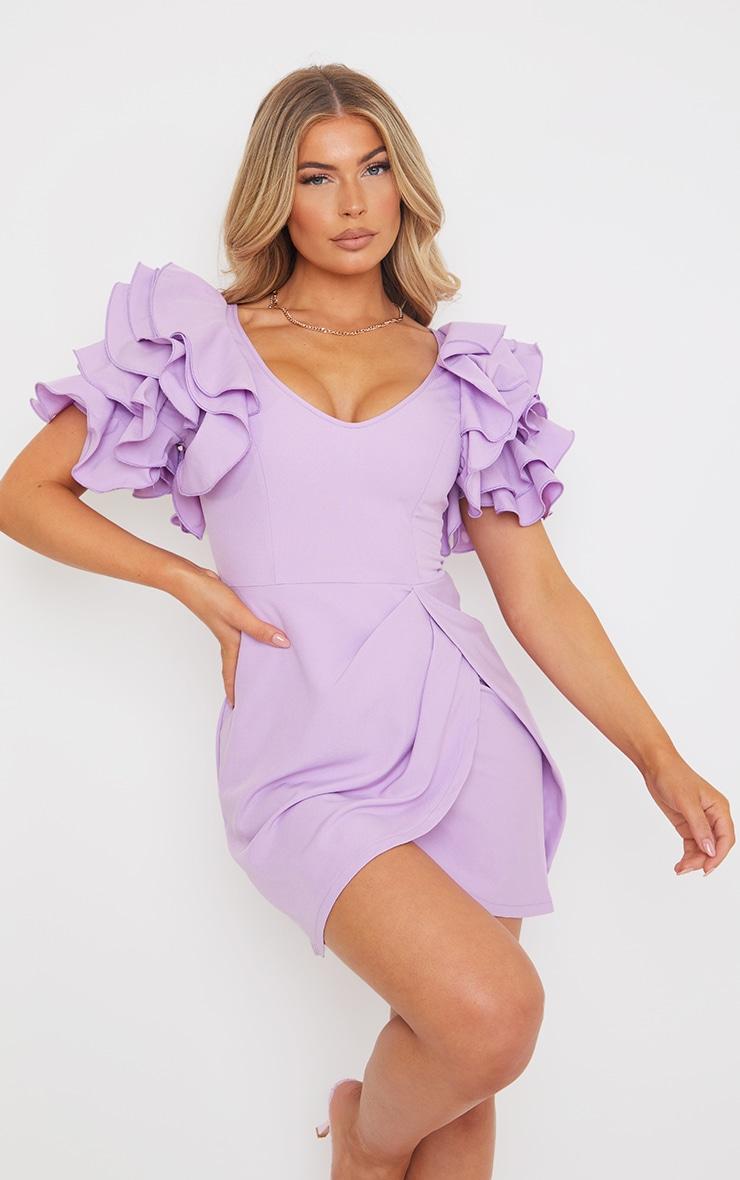 Lilac Frill Sleeve V Neck Bodycon Dress 1