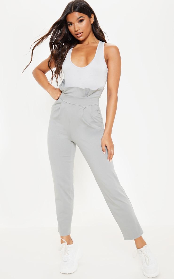 Grey Paperbag Waist Tapered Pants 1