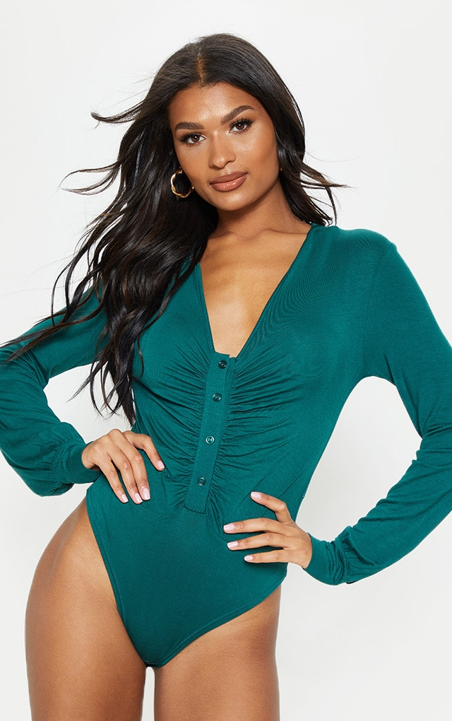 Emerald Jersey Button Front Collar Long Sleeve Bodysuit 2