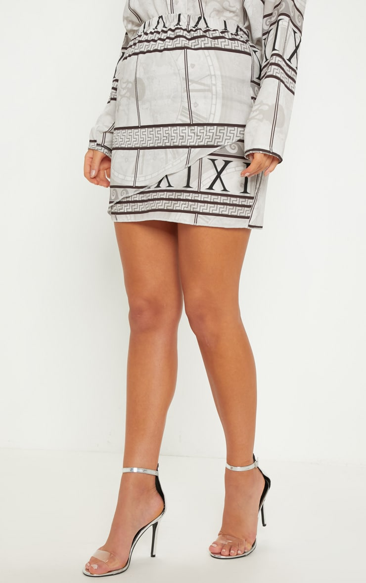 White Abstract Print Wrap Mini Skirt 2