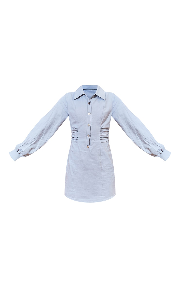 Dusky Blue Ruched Waist Popper Detail Bodycon Dress 5