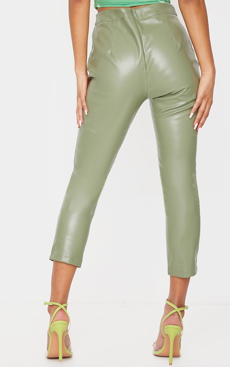 Sage Khaki Faux Leather Cropped Skinny Pants 3