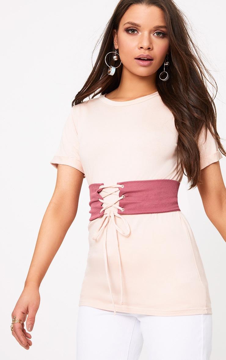 Petite Pink Jersey Corset T-Shirt 1