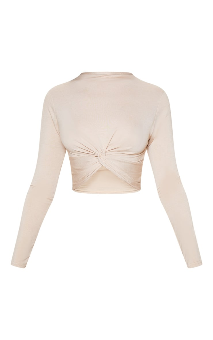 Stone Jersey Long Sleeve Knot Hem Crop Top 3