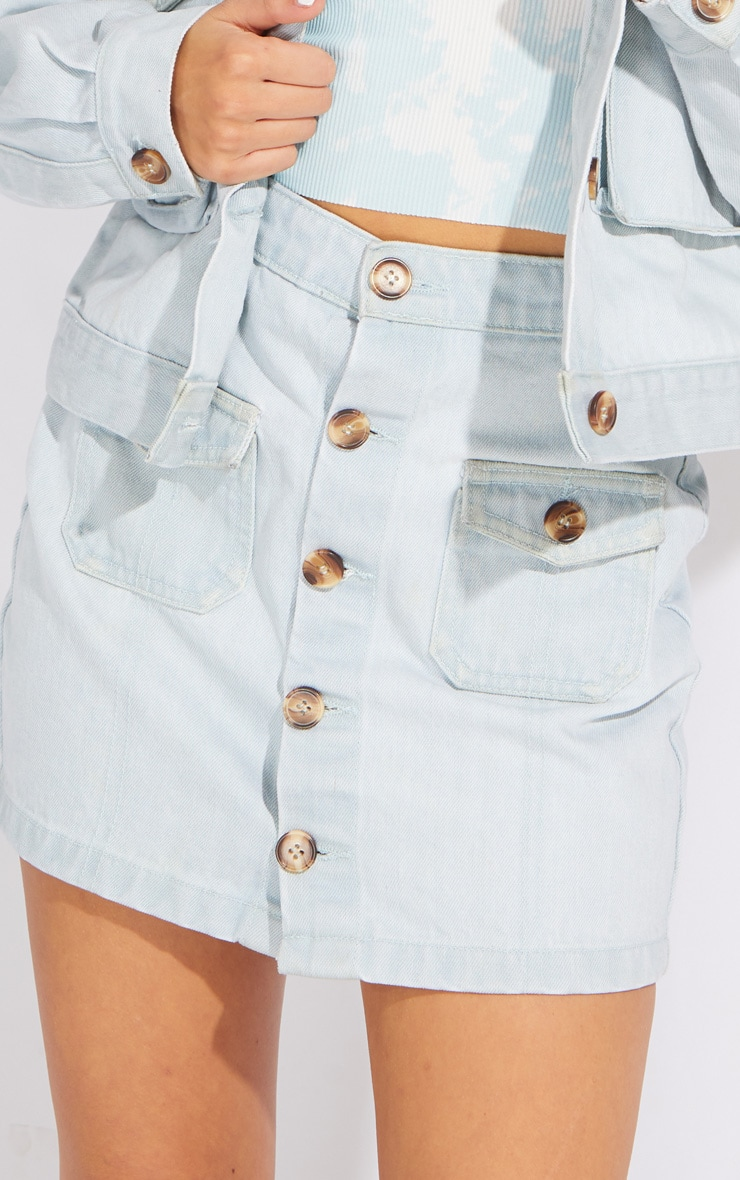 Petite Bleach Wash Button Front Denim Mini Skirt 5