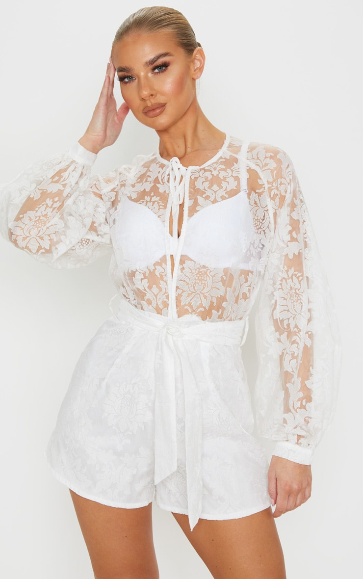 White Delicate Lace Long Sleeve Tie Neck Playsuit 5