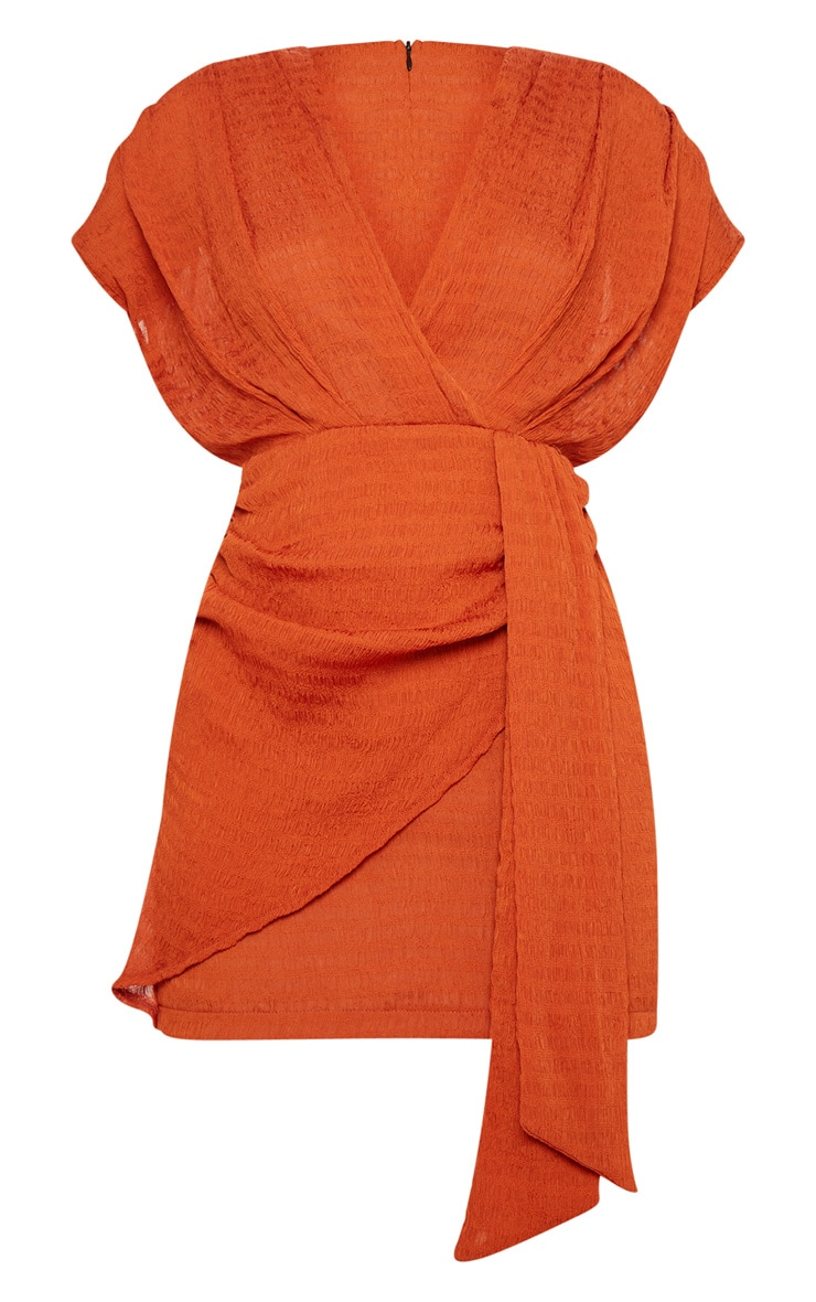 Burnt Orange Textured Drape Bodycon Dress 3