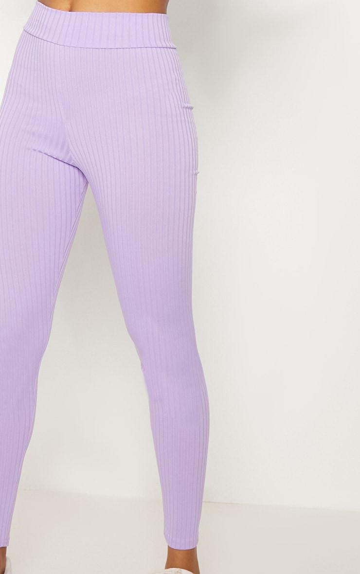 Lilac Ribbed High Waisted Legging  4