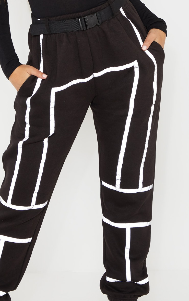 Black Belted Reflective Tape Cuffed Jogger 5
