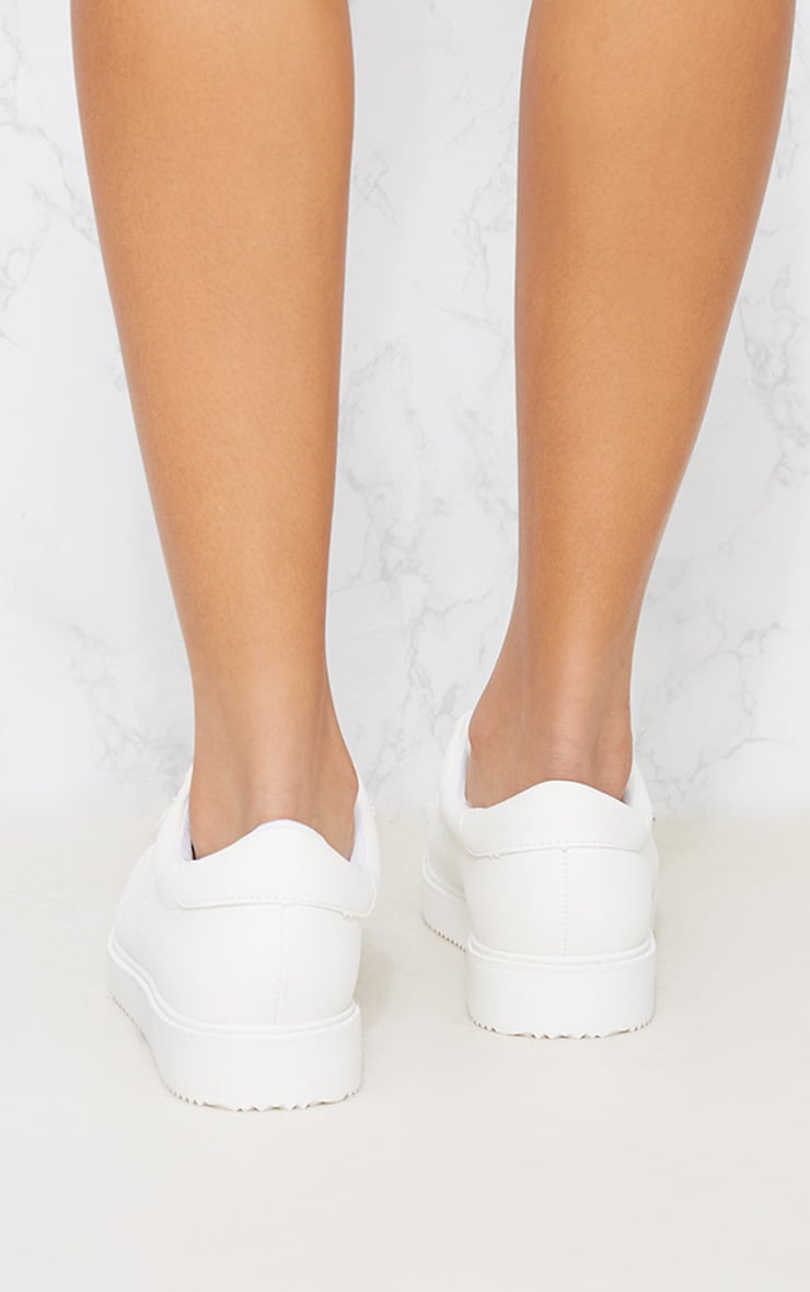 White Lace Up Trainer 3